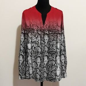 Calvin Klein Animal Print Blouse with Red Ombre L